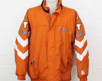 Vintage 1990s University of Texas at Austin Longhorns Burnt Orange and White Zip Up Size Large Starter Jacket