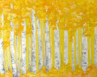 Birch tree painting Aspen tree art Autumn canvas Yellow Birch tree wall art Autumn forest painting Original Aspen tree oil painting