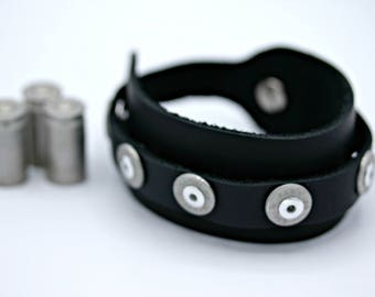 Annie Get Your Gun Black Leather 45 Caliber Spent Shotgun Bullet Shells Bracelet Band Adjustable