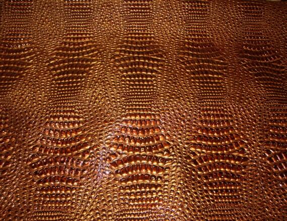 Vinyl Faux Fake Leather Crocodile Swamp Copper Metallic