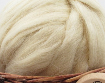 White Devon Wool Top Roving - Undyed Natural Spinning & Felting Fiber / 1oz