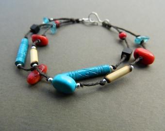 Amazon Rain Forest Bracelet / Red & Aqua