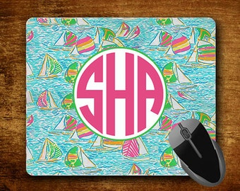 Customized Monogrammed Mousepad Custom Mouse Pad Personalized Lilly Pulitzer Inspired Gifts #4001