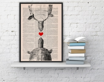 Vintage book print LOVE turtles collage Print on Vintage Book page  Nursery wall art funny animal prints ANI144