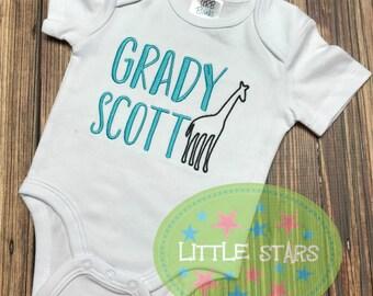 Custom Personalized Giraffe with Name Bodysuit Baby Boy Girl