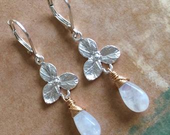 Rainbow Moonstone, 3 Petal Sterling Flower Earrings