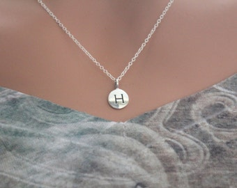 Sterling Silver Simple H Initial Necklace, Silver Stamped H Necklace, Stamped H Initial Necklace, Small H Initial Necklace, H Initial Charm