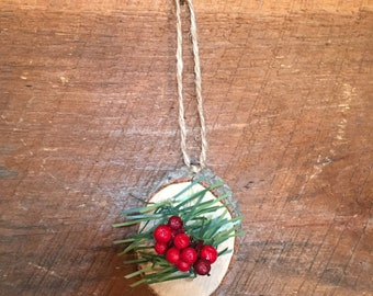 Set of 5 Christmas Ornaments, Handmade Christmas Ornament, Rustic Ornament, Wood Slice, Rustic Decor, Teacher Gift, Coworker Gift, Xmas