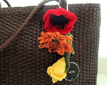 SALE - Knit Flower Key Chain / Key Ring / Luggage ID - Choice of Flower and Color(s)