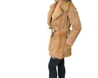 Vintage Rabbit Fur Coat with Suede Detailing