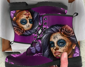 Sugar Skull Boots, Day of The Dead, Sugar Skull Leather Boots, Calavera Boots,Women Boots,Eco Leather Boots. Gift for Her, FREE Shipping