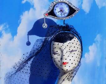 "Surrealist Salvador Dali ""Eye of Time"" Teardrop Blue, Silver, White, Black Headpiece Fascinator Hat, Ball, Derby, Ascot, Art, Costume"