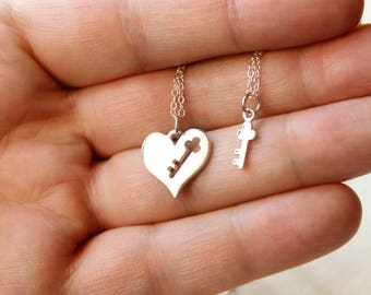 Key to My Heart Necklace Set in Sterling Silver - Heart and Key Necklaces, Two Necklaces, Matching Necklace Set, Anniversary Gift