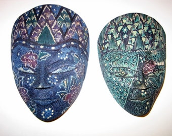 Small Hand Carved Wood Batik masks from Java