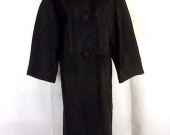 vtg 50s 1950's Freiss Imported Black Spanish Leather Suede Swing Coat Jacket 46