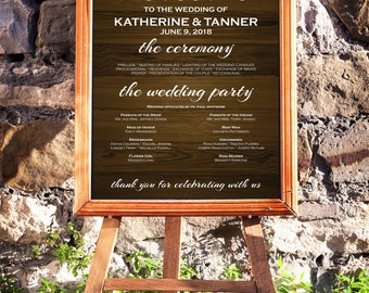 Wedding Program Sign, String Lights Rustic wood, Rustic Program Sign, DIY Welcome Program Sign, Editable PDF Template, Instant Download E16H
