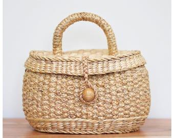 Handwoven straw bag, straw basket bag, straw handbag, straw mini basket straw handbag (Molly rose-Natural)