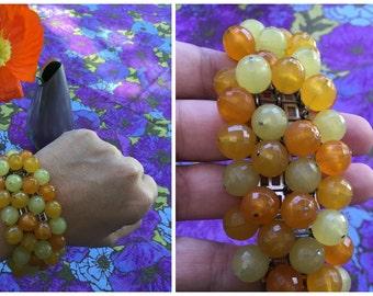 """60's Gradient Orange and Yellow Beaded Bracelet - 6 1/2 - 7"""" Wrist"""