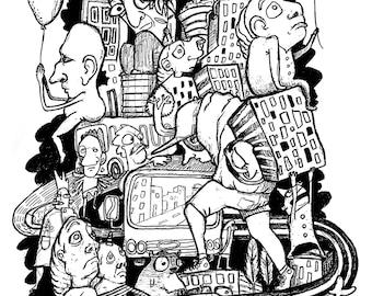 GOOMIES - Digital print, pencil, black&white, characters, illustration, urban, drawing, art by grisel