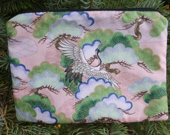 Japanese zip bag, makeup case, accessory bag, zippered pouch, zippered bag, Cranes and Bonsai, The Scooter