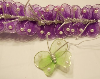 12 purple mesh butterfly's, 27 mm (R2)
