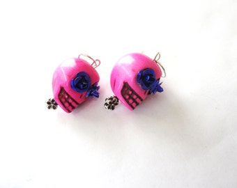 Pink Sugar Skull Earrings Day of The Dead Jewelry