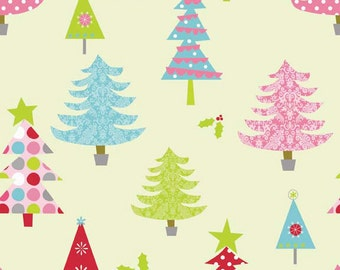 Christmas Fabric, Riley Blake Basic, Pink, Aqua, Green and Red Trees on  Lime Green Fabric, Cotton Yardage, Fat Quarter, Fabric By The Yard