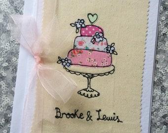 Personalised Wedding free motion machine embroidery card/ Wedding Card / Wedding Present / Wedding Gift / Personalised Wedding Card /