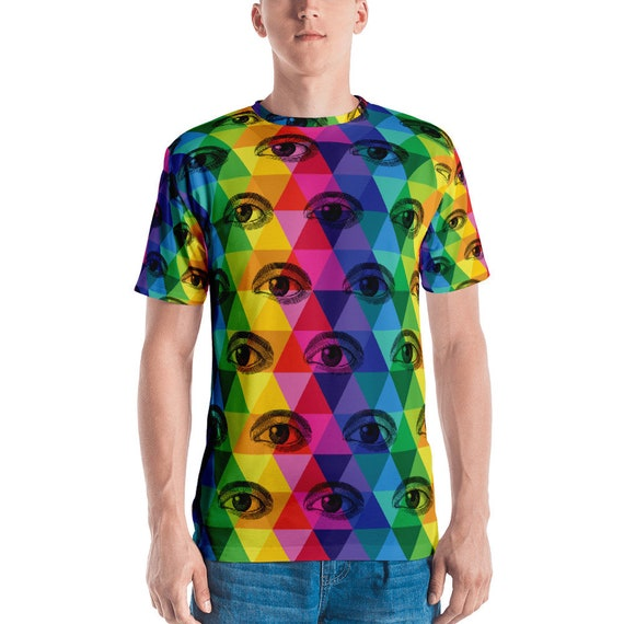 Men's T-shirt Colorful Eyes Tshirt Looking a You Tee Funny Eyes on You Shirt Psychadelic