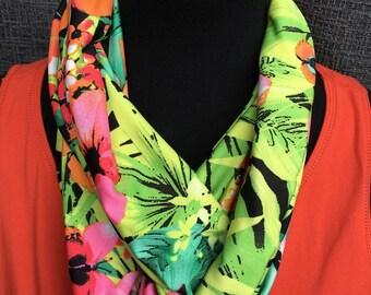 Bufanda, bufanda única, bufanda amarilla, bufanda naranja de la flor tropical bufanda, bufanda de la selva, círculo patrón de la bufanda, bufanda Infinity, bufanda verde,