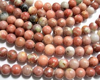 Plum Blossom Jasper - 8mm  round - 1 full strand - 48 beads - Cherry Blossom Jasper - WHOLESALE DEAL - RFG1538