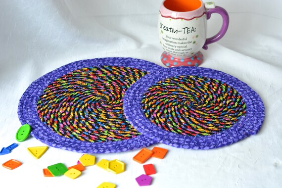 Purple Place Mats,Trivets, 2 Homemade Table Mats, Lovely Black and Purple Table Toppers, 2 Rainbow Hot Pads, Artisan Coiled Fabric Trivets