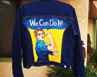 Hand Painted Rosie The Riveter Denim Jacket
