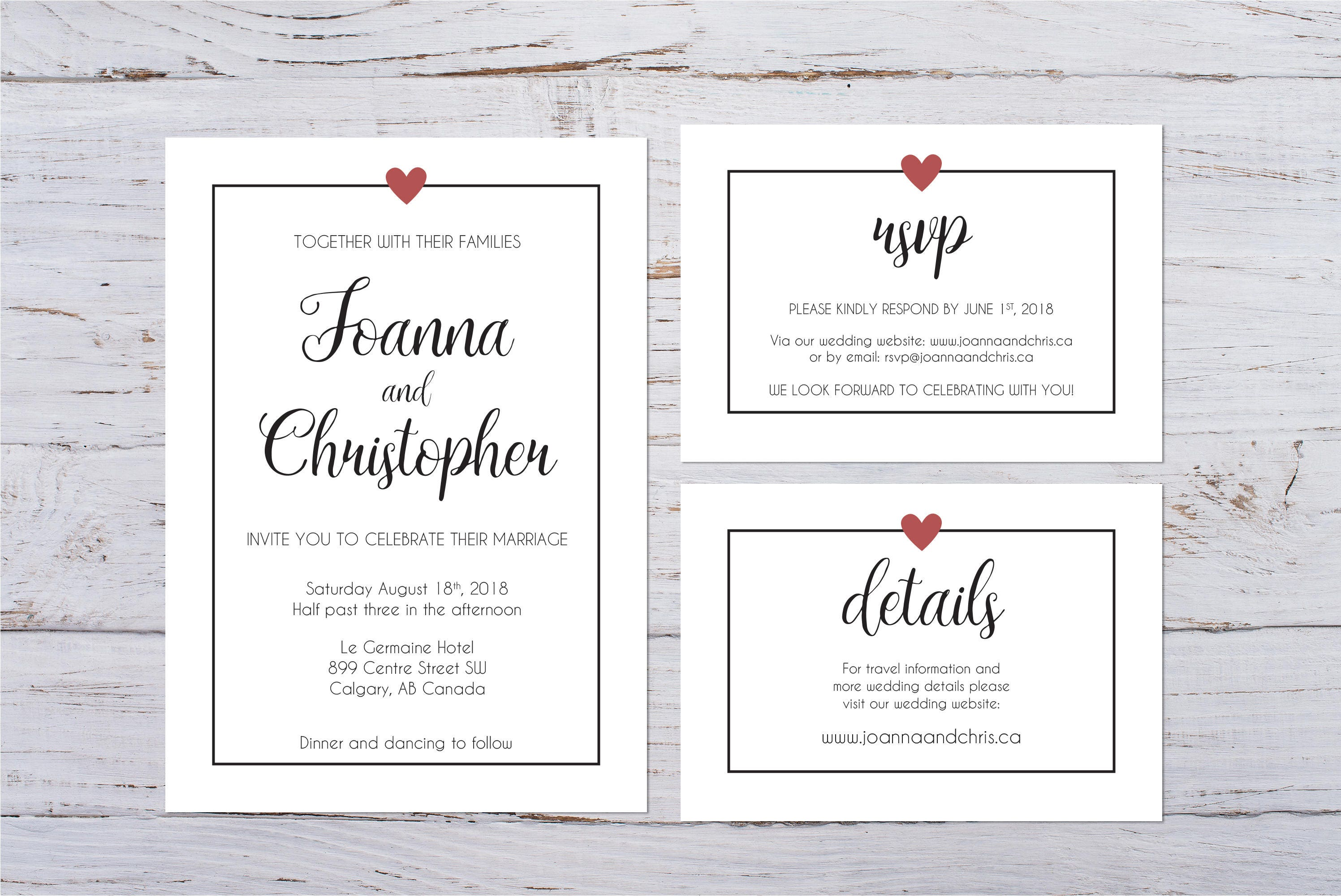 Heart Images For Wedding Invitations: Printable Minimalist Heart Wedding Invitation Custom Wedding