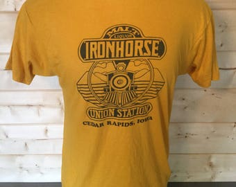 Vintage 1980's Iron Horse Malt Liquor Dive Bar 50/50 T-Shirt Made in USA Thin and Soft