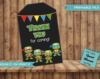 Ninja Turtle Thank You Gift Tags for Baby Shower, Made to Match Ninja Turtles Baby Shower Invitation, Thank You Tags
