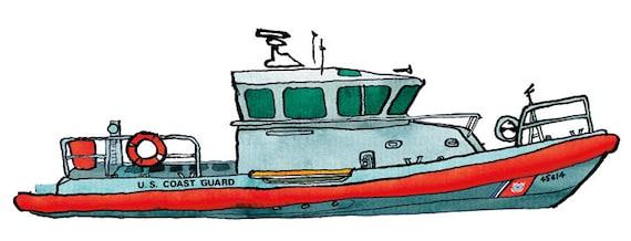 uscg coast guard medium response boat ship print nautical rh etsy com free coast guard clipart coast guard clipart