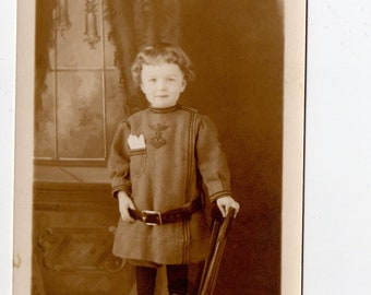 Vintage Little Boy in Uniform Postcard | Real Photo RPPC Boys Costumes War Military Son Brother Toddler Post Card Antique | Paper Ephemera