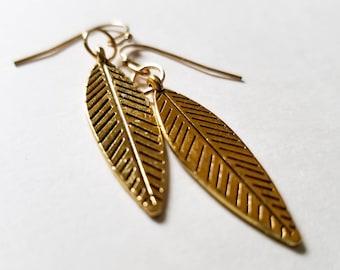 Gold leaf earrings, leaf earrings, dangle earrings, nature inspired, gift for her