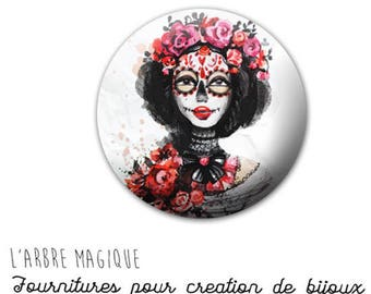 2 cabochons glue 1117 ref pink Gothic woman - 18 mm