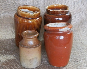 Four British Antique Rustic Brown Stoneware Bottles and Jars / Pots c1900
