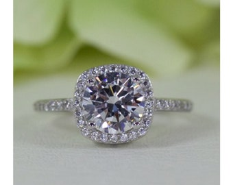 1.50 Ct. Cushion Halo With Round Cut Cubic Zirconia Ring In Sterling Silver, Engagement Ring, Promise Ring, Anniversary Ring | #008