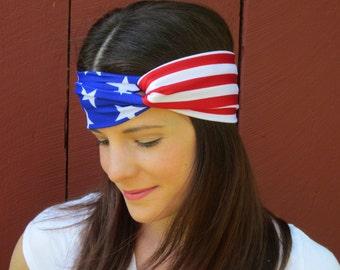 Fourth of July Headband, Patriotic Headband, American Flag Headband, Olympic Games Headband, Stars and Stripes Headband, USA Headband