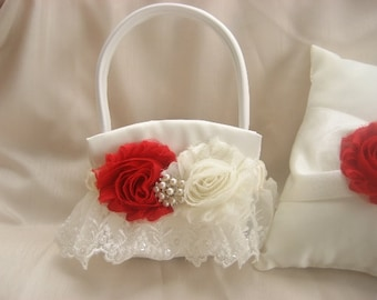 Flower Girl Basket Shabby Chic Vintage Red and  Ivory or White Custom Colors Wedding Basket