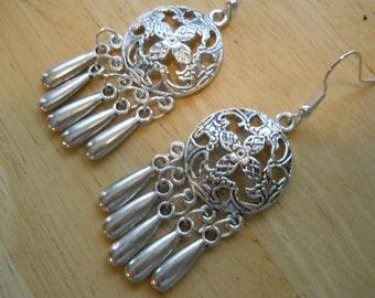Silver Tone Chandelier Earrings with Silver Tone Teardrop Dangles