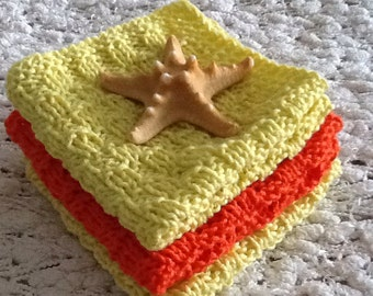 Hand knit wash cloths - spa cloths - bath cloth - orange yellow wash cloths - face cloths -  bridal shower gift