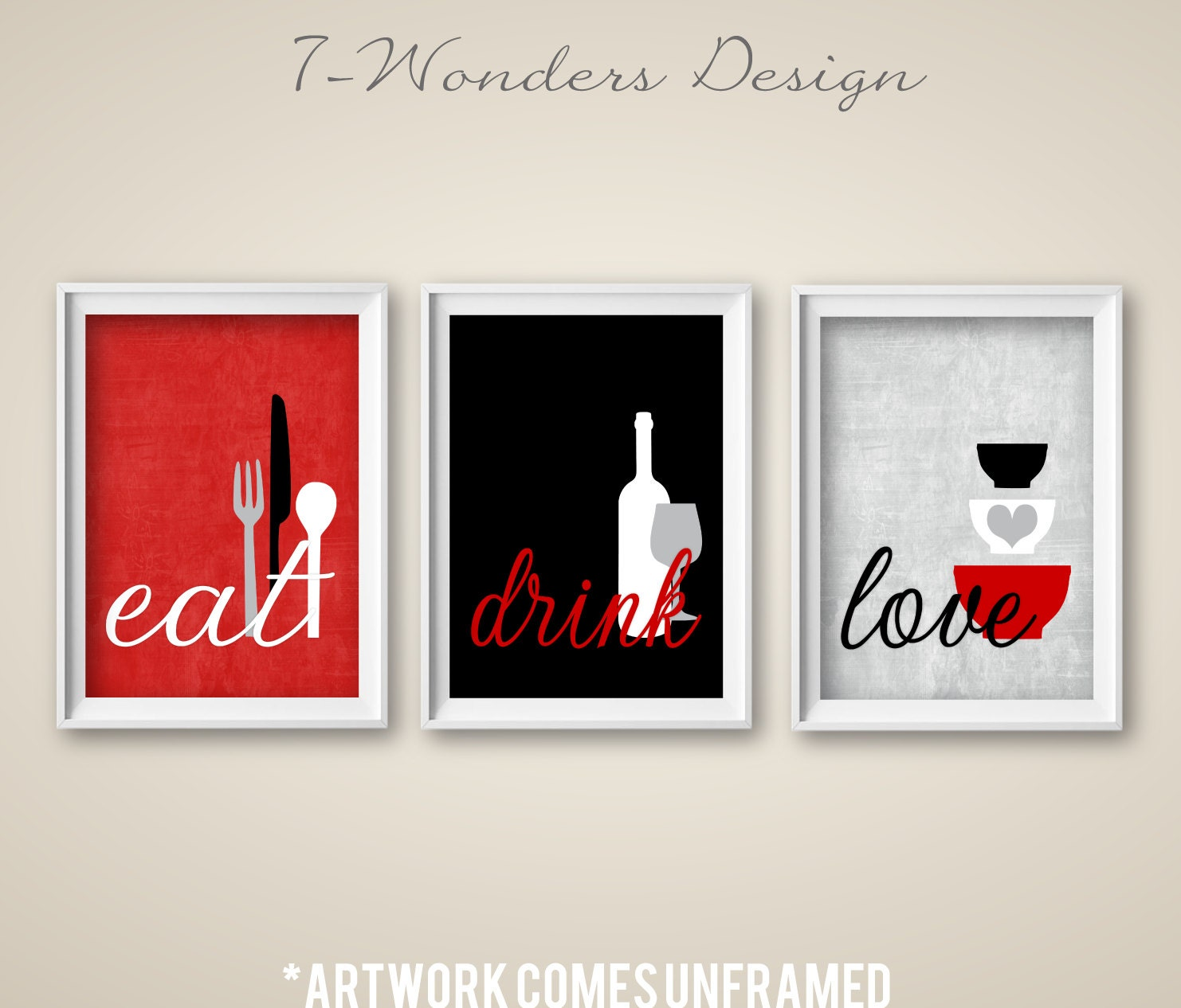 Red Decor For Kitchen: Kitchen Wall Art Print Set Eat Drink Love Red Grey