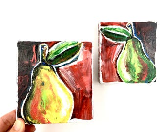 A Pair of Pears ~ 2 Mixed Media Paintings on Wood Block Shelf Sitters