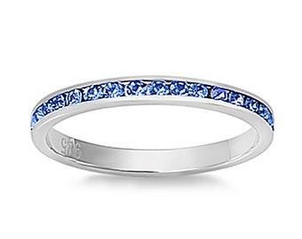 Women Sterling Silver Light CZ Eternity Ring 3MM / Free Gift Box(SNRC102000-LS)