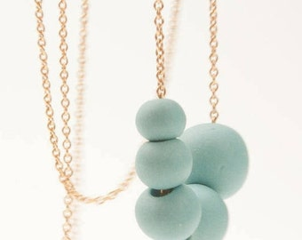 Antalya – Gold  Filled Necklace with Turquoise Porcelain Beads -  Porcelain Long Necklace - 14 ct gold filled Chain - porcelain jewelry